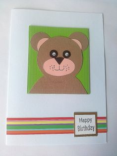 Cute handmade teddy bear card for childrens birthday by KaisCards, £2.50