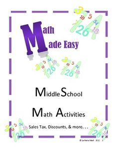 This packet is great to use in your classroom to help students understand the concepts of sales tax, percentages, markups, and discounts. There are over 20 pages of activities and instructions with answer keys included.    This packet includes:  - Writing Sales Tickets with a small simulation  - Figuring Sales Tax  - Markup  - Markdown  - My Classroom Percentage  - Discounts  - Sales Paper Math  - And More!
