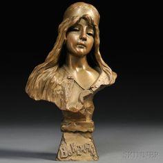 After Emmanuel Villanis (Italian, 1858-1914) Art Nouveau Bronze Bust Bohemienne