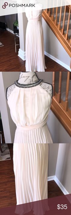 Cream Studded Long Formal Prom Dress Sheer 7/8 In preowned condition. Please see all photo.  Very elegant dress.  Some yellowing in armpit areas and a very small snag. Floors length. 7/8 B. Darlin Dresses Prom