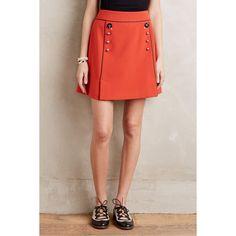 Leifsdottir Regatta Skirt ($138) ❤ liked on Polyvore featuring skirts, red, red skirt, button skirt and leifsdottir
