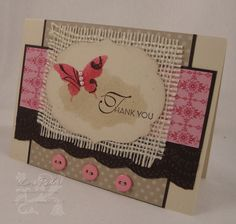 "Along with the natural colors on this handmade thank you card is the great color Primrose Petals.  The butterfly features the color along with the buttons and background panel.  A swatch of burlap gives the card an ""outdoorsey"" feel."