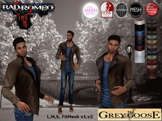(WEAR ME) Bad Romeo Shirt/Jacket (The Grey Goose) secondlife, sl, avatar, men, jacket,coat,sweater,turtleneck,outfit,jeans,pants,shirt,tshirt