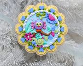 Handcrafted Polymer Clay Whimsical Owl  Scene Ornament