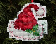 Cross Stitch Christmas Ornament  Santa Hat by britto801 on Etsy, $5.00