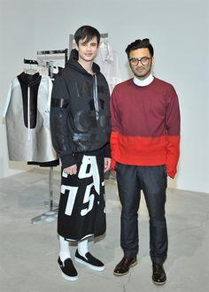 Shaun Samson and model wearing Shaun Samson SS14 at LONDON show ROOMS LA SS14