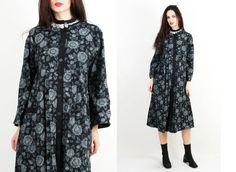 Vintage Dress / Cotton Dress / Floral Dress / Black White / Wrap Dress Size UK12 / US10 / L by Ramaci on Etsy