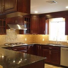 kitchen backsplash cherry cabinets black counter. Black Granite, Cherry Cabinets, Glass Tile Backsplash (cabinets And Counters Are Close To Ours) Kitchen Cabinets Counter C