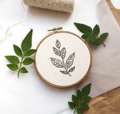 green botanical leaf embroidery