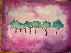 Acrylic painting bright trees