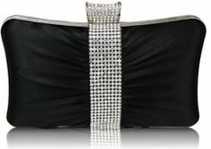 Stunning Black Crystal Prom Bridal Hard Cased Pleated Evening Clutch Bag x with PreciousBags Dust Bag Black Clutch Bags, Clutch Purse, Diamante Belt, 50 And Fabulous, Black Crystals, Evening Bags, Evening Party, Wedding Accessories, Purses And Bags