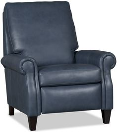 Premium leather recliner chair .fineleatherfurniture.com  sc 1 st  Pinterest & Serious Eye Candy! Push back navy blue leather recliner from ... islam-shia.org