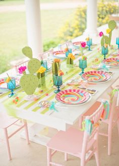 Guest table from a Cactus & Candy Summer Soiree on Kara's Party Ideas Llama Birthday, 10th Birthday, 2nd Birthday Parties, Girl Birthday, Bd Design, Baby Shower, Party Time, Party Favors, Glow Party