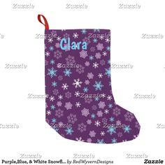 Purple,Blue, & White Snowflakes Christmas Stocking