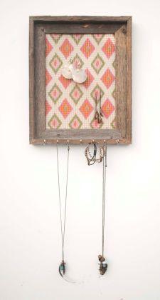 Aztec Barnwood Jewelry Holder - Peach, Pink, Orange & Olive  - 9 x 12