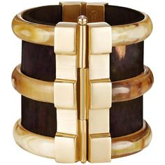 Fouche Horn Ruby Fire Opal Emerald Wood Brass Diana Vreeland Cuff Bracelet | From a unique collection of vintage cuff bracelets at https://www.1stdibs.com/jewelry/bracelets/cuff-bracelets/