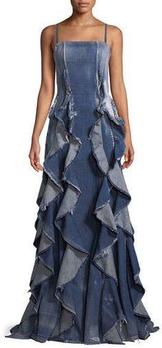 cba14bcd5a82 8 Best denim evening dress images | Denim fashion, Denim outfits ...