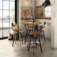 Customizable Dining Norcross Bar Table with Distressed Solid Wood Top by Amisco at Belfort Furniture Pub Table And Chairs, Patio Lounge Chairs, Table Bar, Kitchen Chairs, Bar Chairs, Bar Stools, Dining Table, Pub Tables, Round Tables
