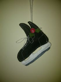 things ive made hockey skate felt ornament - Hockey Christmas Ornaments