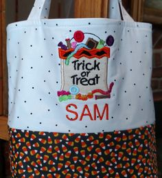 b95846863b Personalized trick or treat bag applique   embroidery by jessiemae Halloween  Bags