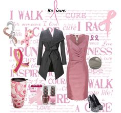 """""""Pink ribbon support - wear pink!"""" by nightcat on Polyvore"""