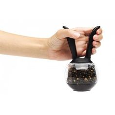Chef'n Pepper Ball Black/Clear. Easily adjustable grind mechanism, Twist off top to refill Steel rasp and Comes ready to use, filled with fresh peppercorns.