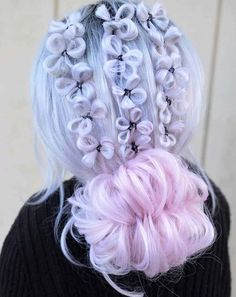 dyed hair Love the Cotton Candy Clovers braides for amazing look in 2019 - Cute Hair Colors, Pretty Hair Color, Beautiful Hair Color, Hair Dye Colors, Pretty Hairstyles, Braided Hairstyles, Dye My Hair, Rainbow Hair, Crazy Hair