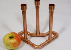 Copper Candle Holder For Three Candles Industrial Copper Candlestick Modern Home Decor