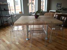 Table carrée Pays Bois avec piétement en tubes d'échafaudage. Live Edge Table, B & B, Architecture, Wood, Dining Tables, Furniture Ideas, Plate, Home Decor, Recycled Pallets