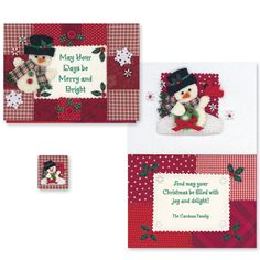 Calico Snowman Christmas Card Set of 20. SOOOOOOO CUTE!!! $ 10.99