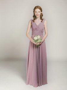 chiffon mauve full length v-neck bridesmaid gown swbd006