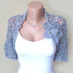 Handknit/crochet grey  bolero  Romantic  Wedding by KnittedSmiles, $49.00