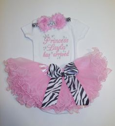 Princess NAME has arrived embroidered newborn by LittleQTCouture, $54.00