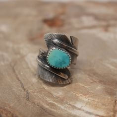 Feather Wrap Ring in Sterling  Feather Wrap Ring in Silver with Turquoise by LittleHoboBirdWares.