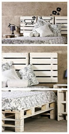 Another work of ProBosc made from recycled pallets. Bed, headboard and nightstand are made from old pallets, sanded and painted in white. For a shabby chic spirit :)…