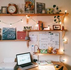 UO Guide: Cozy Bedrooms - Urban Outfitters - Blog                                                                                                                                                                                 More Bedroom Shelving, Bedroom Workspace, Workspace Desk, Uni Desk, Office In Bedroom Ideas, Cozy Bedroom Decor, Cozy Dorm Room, Cozy Apartment Decor, Office Shelving