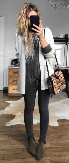what to wear with a white cardi : bag + top + skinnies + boots top