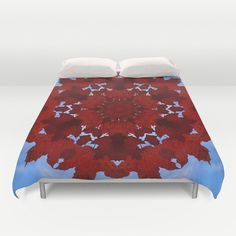 Maple leaves and sky mandala duvet cover, nature photograph, autumn, fall, red, blue, Acer, botanical home decor, bedroom decor, bedding by RVJamesDesigns on Etsy