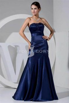 Awesome navy blue satin mermaid dress