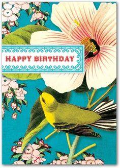 Birthday card by Cartolina. #bird #vintage #flower #teal