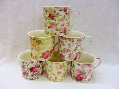 Set of 6 China Palace Mugs in assorted Floral designs: Amazon.co.uk: Kitchen & Home