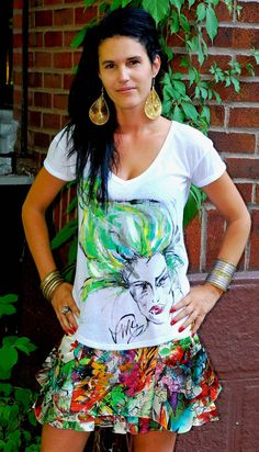 Green Fantasy Cotton Spandex Top - Hand Painted