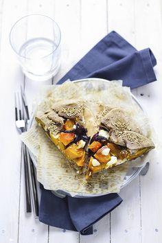 Squash, red onion and feta free-form tart -