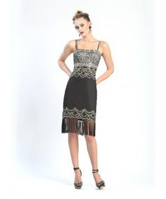 Beaded Fringe Hem Party Dress in Black Platinum by Sue Wong
