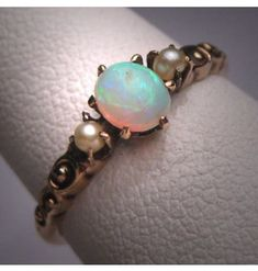 Antique  C.1890 Victorian Opal Seed Pearl Accent Yellow Gold Ring-Price Reduced! #Unbranded #SolitairewithAccents