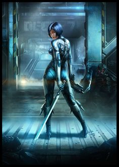 """Huntress by AKIRAwrong   Digital Art / Drawings & Paintings / Sci-Fi   Stealth armor suit outfit   Author's note: """"art for the game project-Warside"""""""