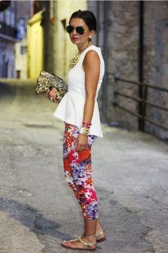 Peplum top & bright floral pants