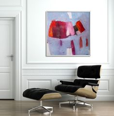 GEOMETRIC painting Large Wall Art Made to order 32x32 Large Abstract Art Canvas Painting Blue Abstract Art Pink Duealberi