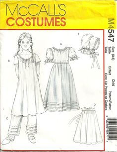 Children's Civil War, 19th Century and Victorian clothing and garments for girl's and boys.