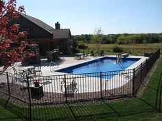 Experience our unique approach to designing and building custom inground swimming pools. My Pool, Swimming Pools Backyard, Swimming Pool Designs, Pool Decks, Pool Landscaping, Pool Porch, Pool Fence, Wisconsin, Rectangle Pool